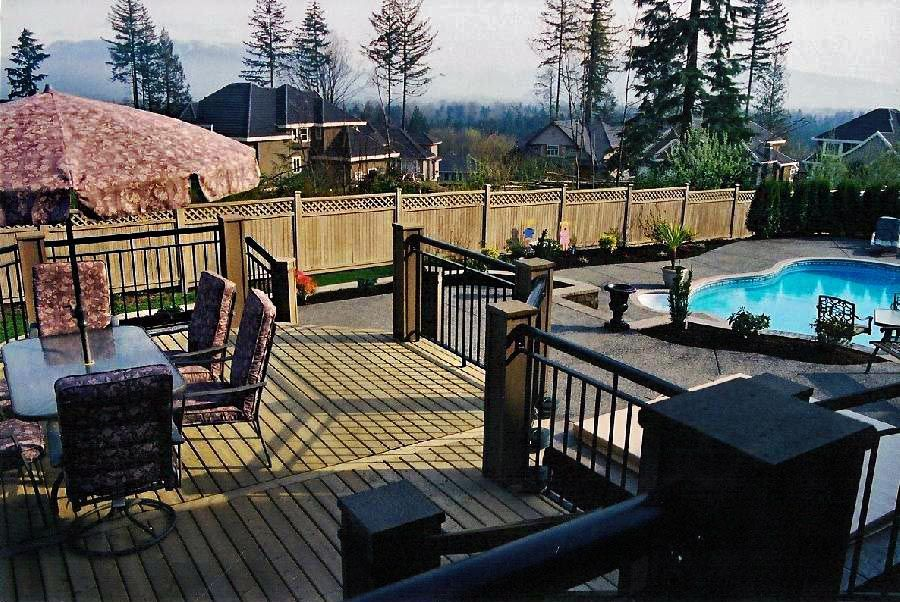 view of a backyard with pool and deck