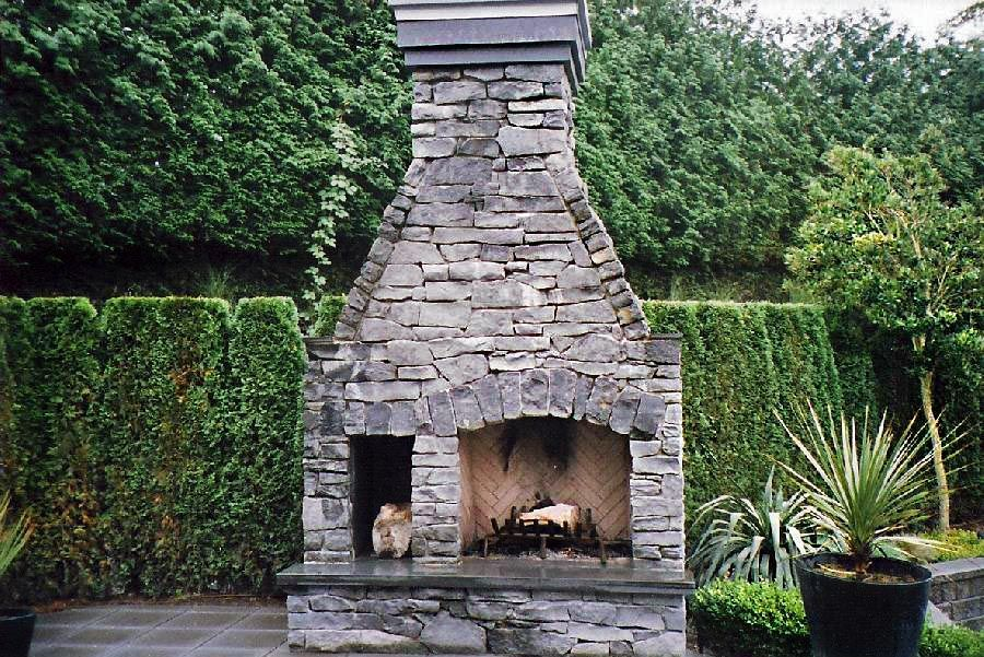 View of a fireplace in a garden
