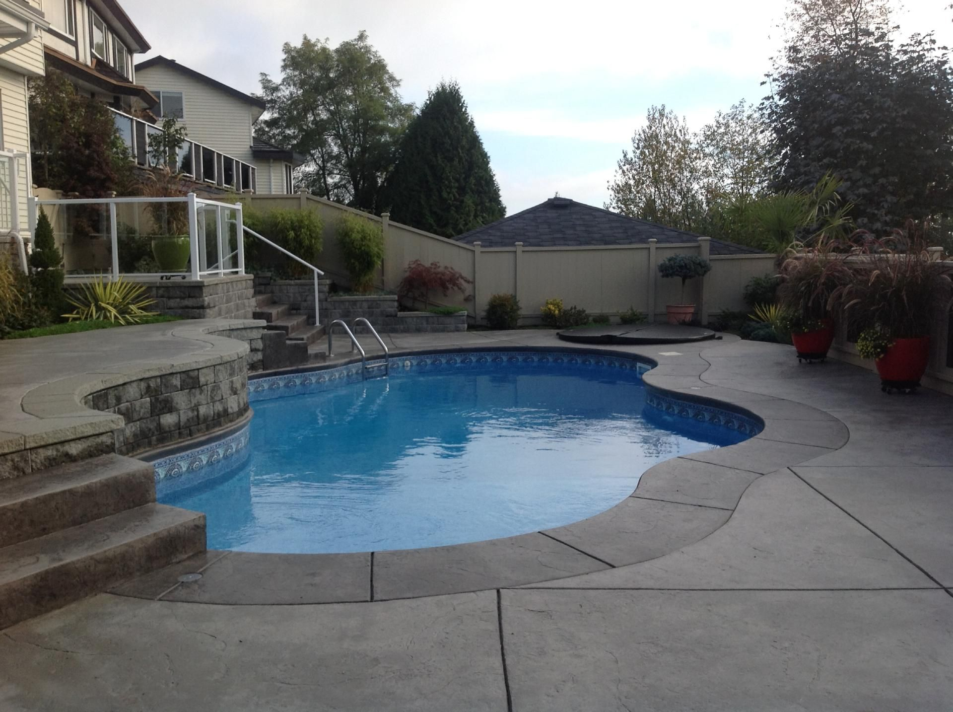 side view of a backyard pool